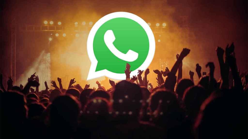 El logo de WhatsApp en un concierto.