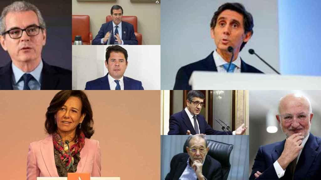 Pablo Isla, Antonio Garamendi, Gerardo Cuerva, J.Mª Álvarez Pallete, Ana Botín, Patxi López, Javier Solana y Juan Roig.