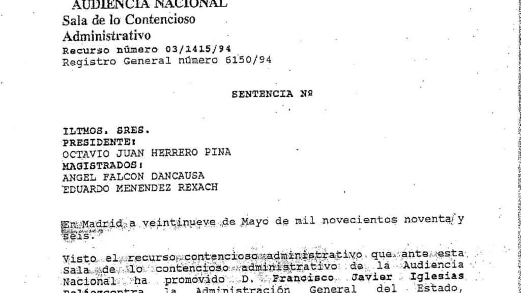 Sentencia en la que se la da la razón a Francisco Javier Iglesias.