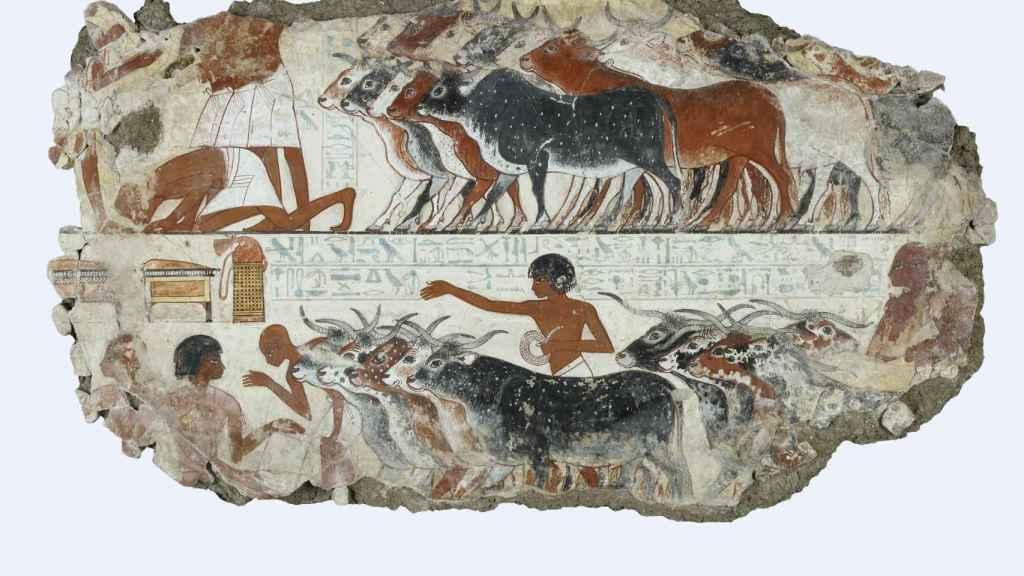 Otra de las escenas pintadas en la tumba de Nebamun.