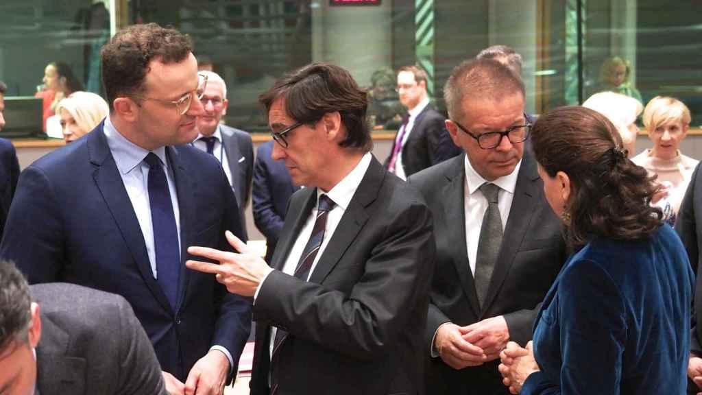 Salvador Illa, durante una reunión presencial de ministros de Sanidad de la UE