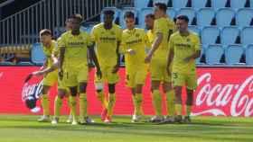 El Villarreal celebra un gol en el estadio de Balaídos