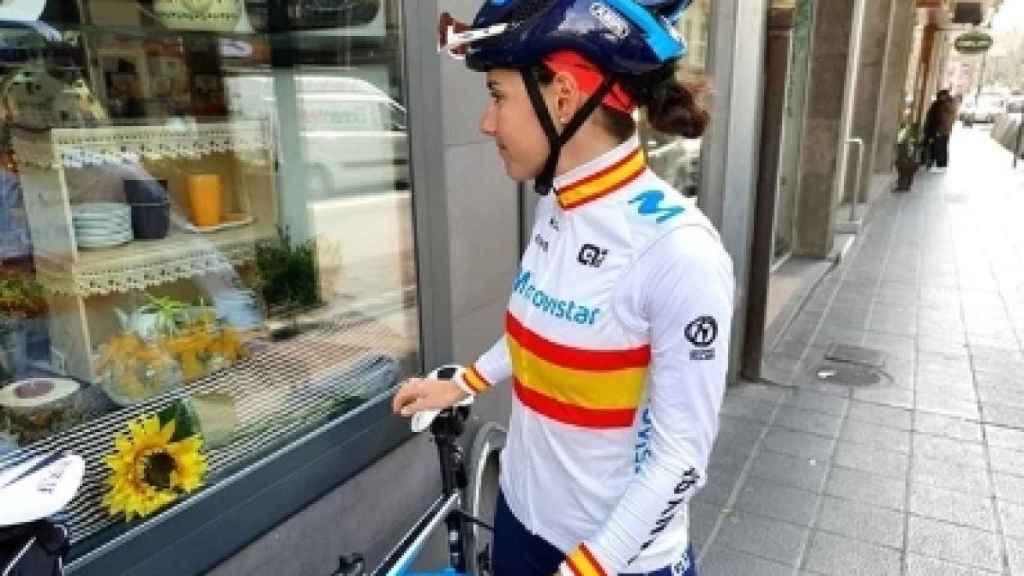 Lourdes Oyarbide, con el maillot de campeona de España