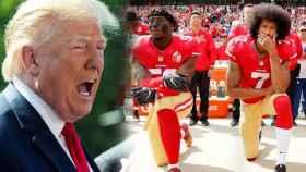 Donald Trump, junto a Colin Kaepernick y otro compañero de los San Francisco 49ers en 2016