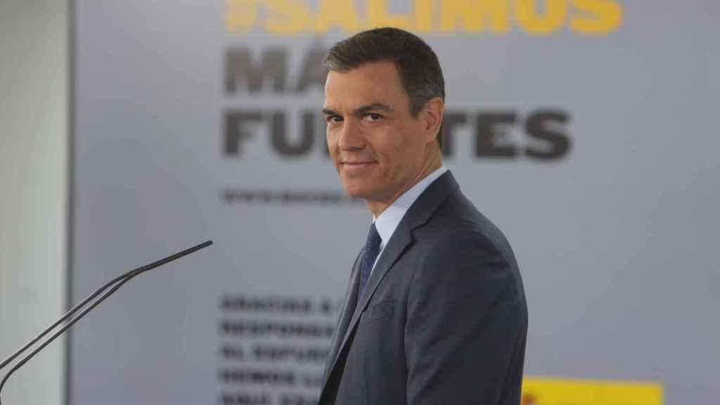 El presidente del Gobierno, Pedro Sánchez, durante una comparecencia en rueda de prensa en el Palacio de la Moncloa.