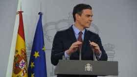 Pedro Sánchez, en la sala de prensa de Moncloa.