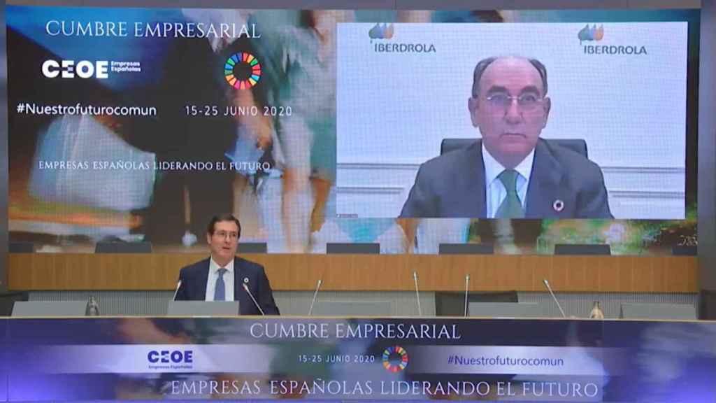 El presidente de Iberdrola, Ignacio Sánchez Galán, y el presidente de CEOE, Antonio Garamendi.
