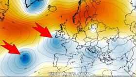 Posición de las dos borrascas el 15/06. Severe-weather.eu.