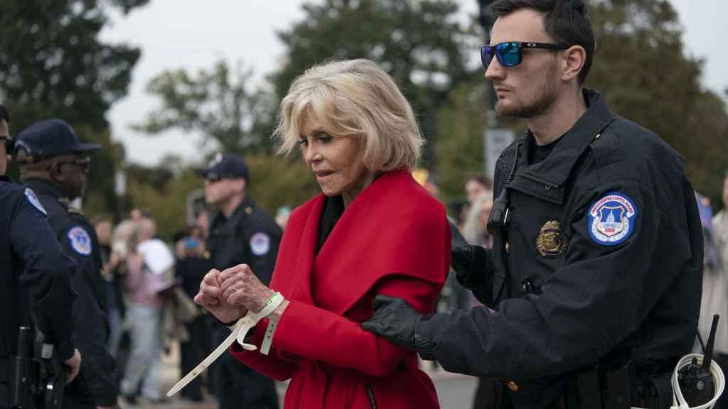 Jane Fonda durante su detención el pasado octubre en Washington.