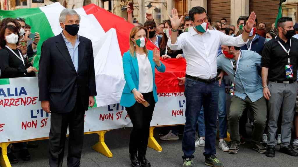 Matteo Salvini lidera una protesta contra el Gobierno.