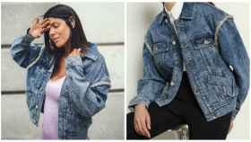 Laura Matamoros junto a la chaqueta de denim en montaje de JALEOS.