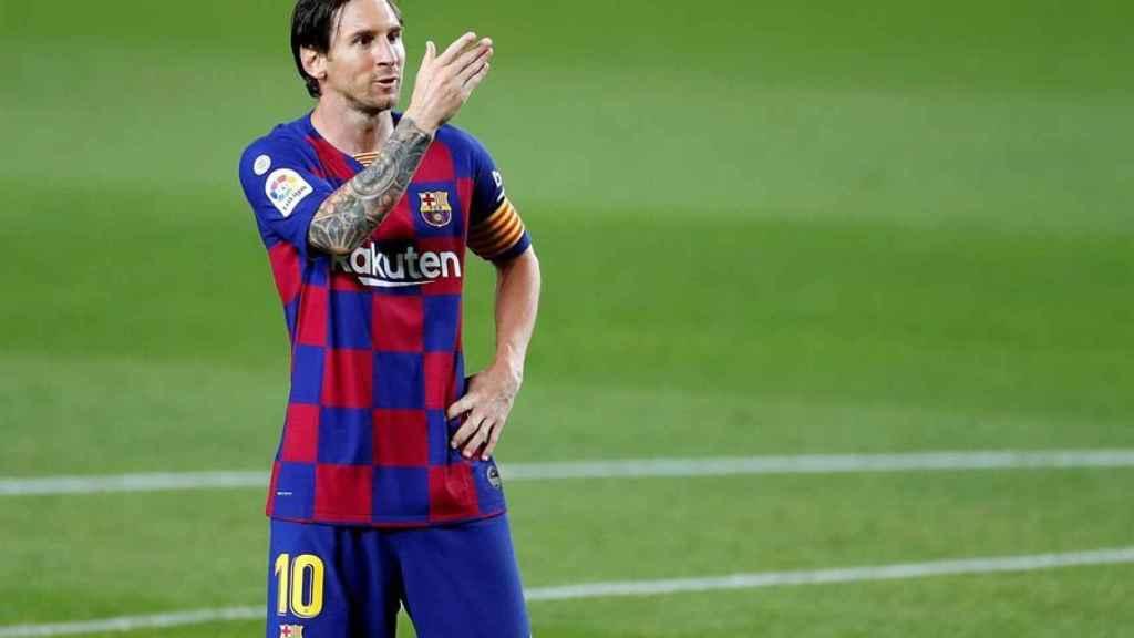 Leo Messi celebra el gol con el Barcelona en el Camp Nou contra el Leganés