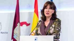 Blanca Fernández, consejera portavoz del Gobierno de Castilla-La Mancha, este martes en rueda de prensa