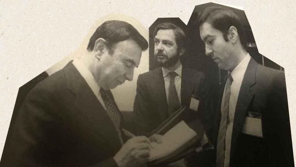 Luis María Anson, Juan Luis Cebrián y Pedro J. Ramírez en una reunión del Instituto Internacional de Prensa en 1986.