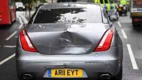 Así ha quedado el Jaguar de Boris Johnson tras el accidente.
