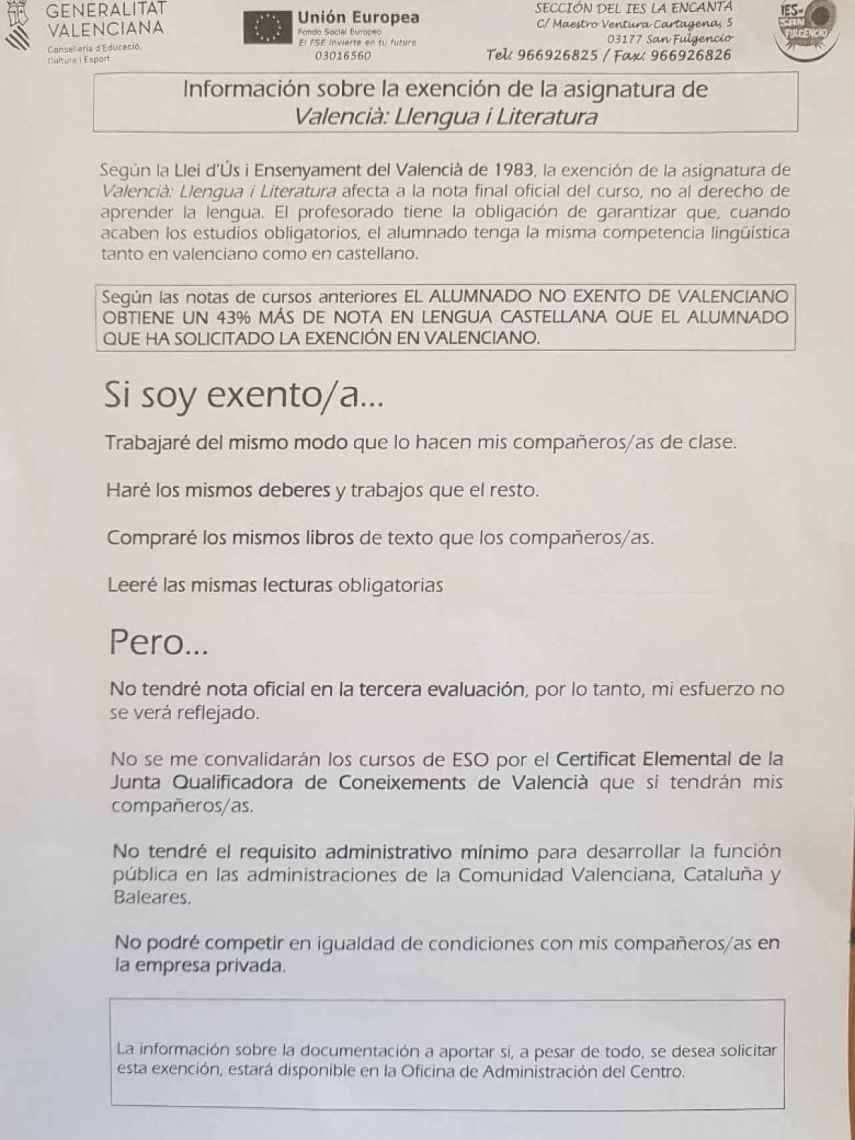 Carta de la Consejería de Educación valenciana a las familias del IES La Encantá en San Fulgencio (Alicante) que han solicitado la exención del valenciano.