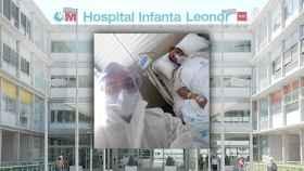 El soldado del Ejército de Tierra y su padre, en el Hospital Infanta Leonor.