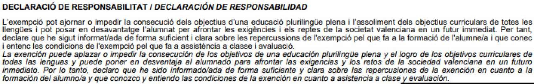 Declaración de responsabilidad dentro de la solicitud de exención del valenciano.