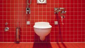 Un moderno baño con el alicatado de color rojo.