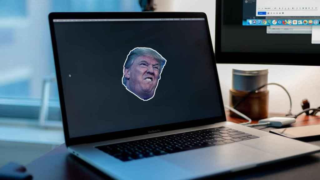Fotomontaje de la cara de Trump en un ordenador.