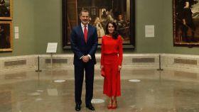 Los reyes Felipe y Letizia, anoche en el Museo del Prado.