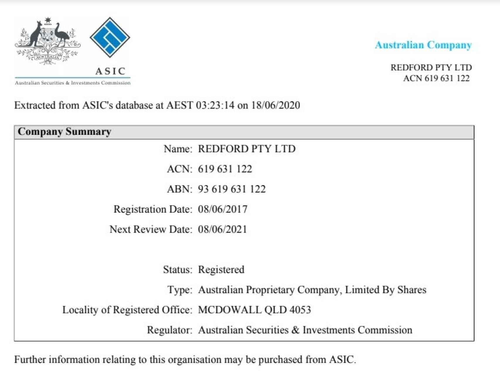 Certificado de inscripción en la ASIC