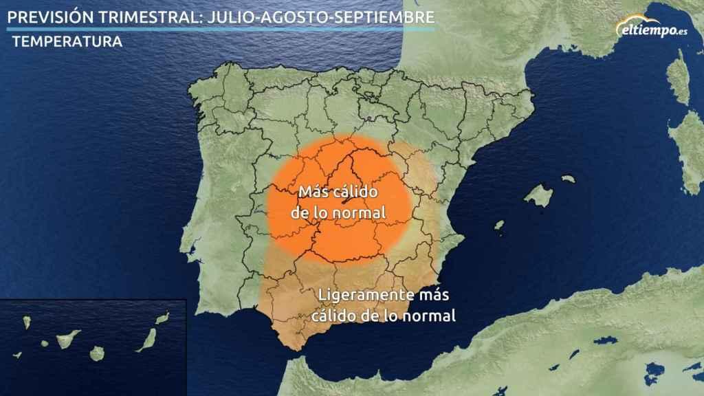 Previsión de anomalías de temperaturas para el verano de 2020 en España según eltiempo.es