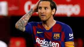 Leo Messi se lamenta tras fallar una ocasión en el Sevilla - Barcelona