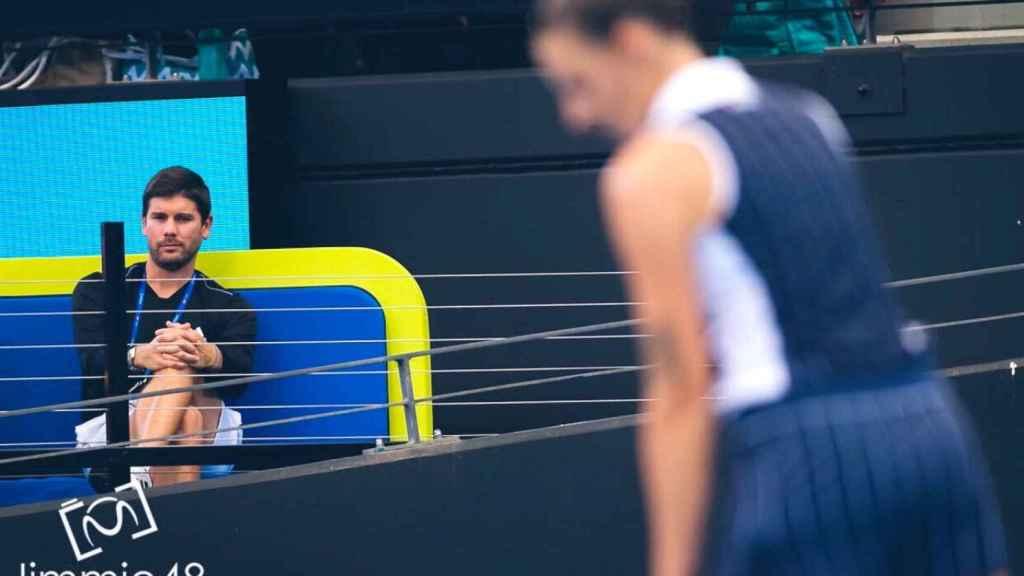 Daniel Vallverdú en un entrenamiento con Pliskova