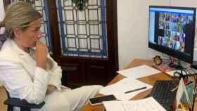 Milagros Tolón, alcaldesa de Toledo, durante la conferencia telemática con el ministro Escrivá
