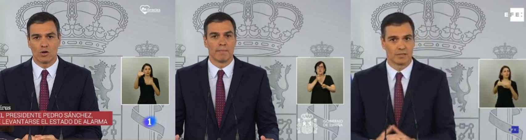 La transmisión de TVE, La Moncloa y Efe.