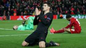 Álvaro Morata celebra el tercer gol ante el Liverpool en Anfield