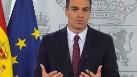 El presidente del Gobierno, Pedro Sánchez, durante su comparecencia desde Moncloa. (EFE)