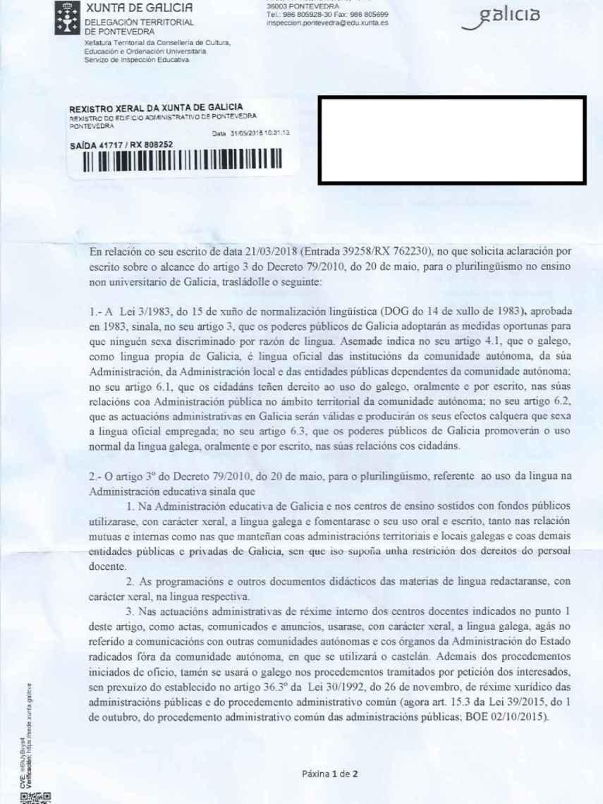 Contestación del inspector jefe de Pontevedra.
