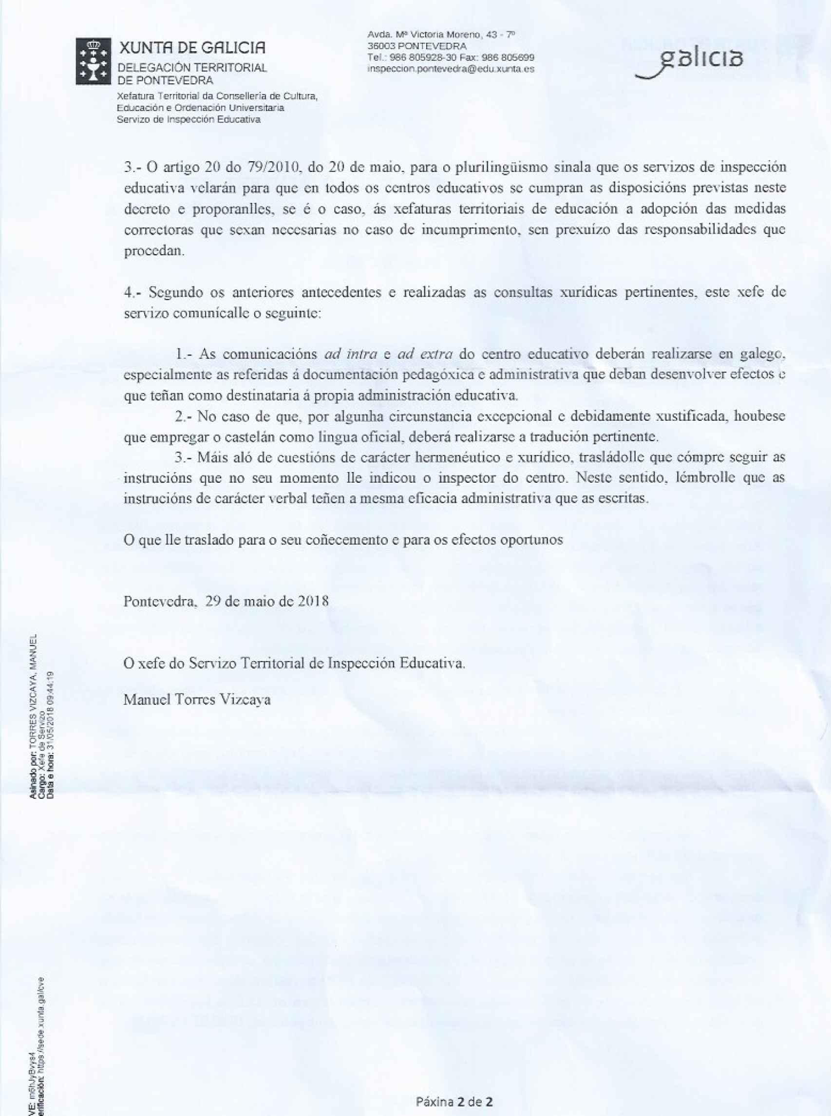 Contestación del inspector jefe de Pontevedra (página 2).