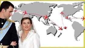 Felipe y Letizia junto a mapa con todos los destinos en los que estuvieron por su luna de miel.