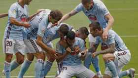 El Celta celebra un gol de Murillo