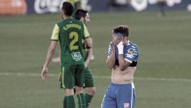 Un jugador del Getafe se lamenta