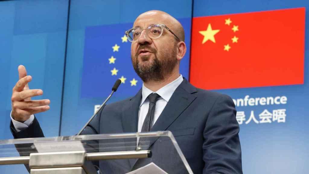 El presidente del Consejo Europeo, Charles Michel, durante la rueda de prensa de este lunes