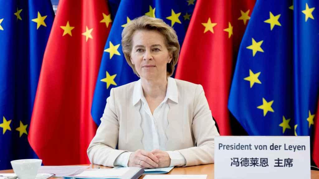 Ursula von der Leyen, durante la cumbre con China de este lunes