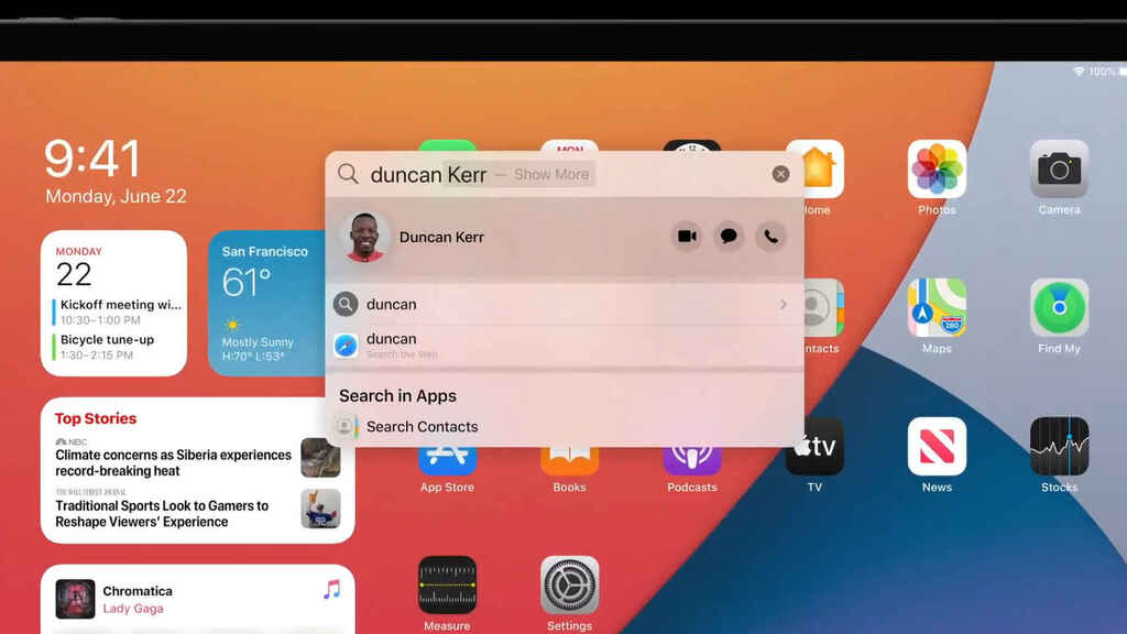 Nueva busqueda en iPadOS
