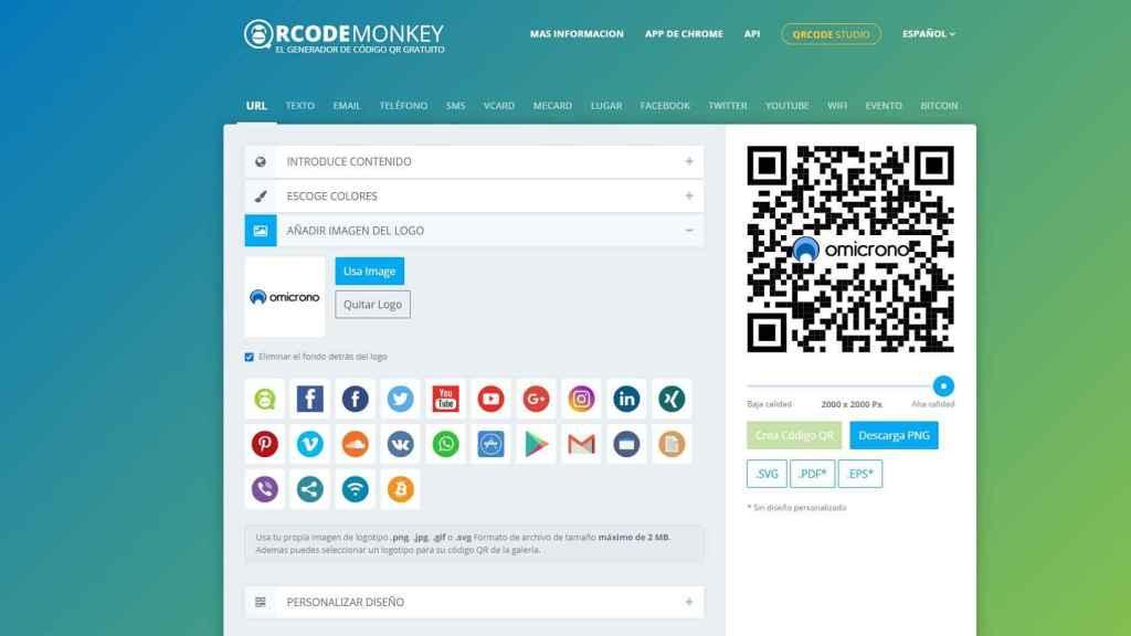 Interfaz de QRCode Monkey.