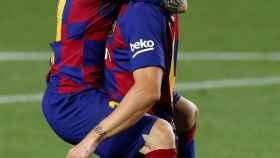 Messi celebra con Rakitic el gol del croata para el Barcelona ante el Athletic