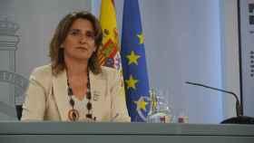 Teresa Ribera, vicepresidenta cuarta del Gobierno, en la sala de prensa de Moncloa.