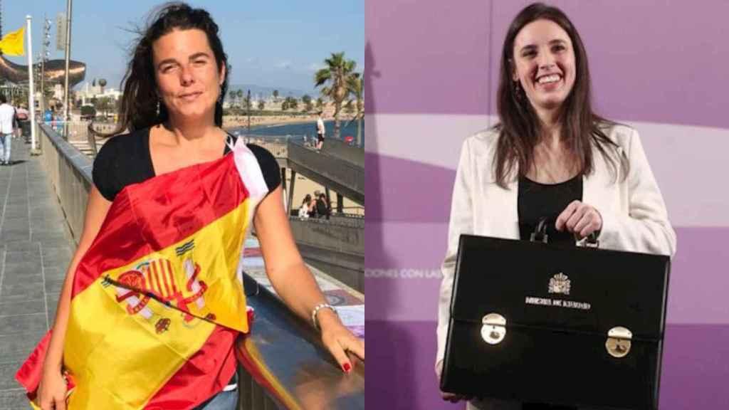 Cristina Gómez, a la izquierda, junto a Irene Montero.
