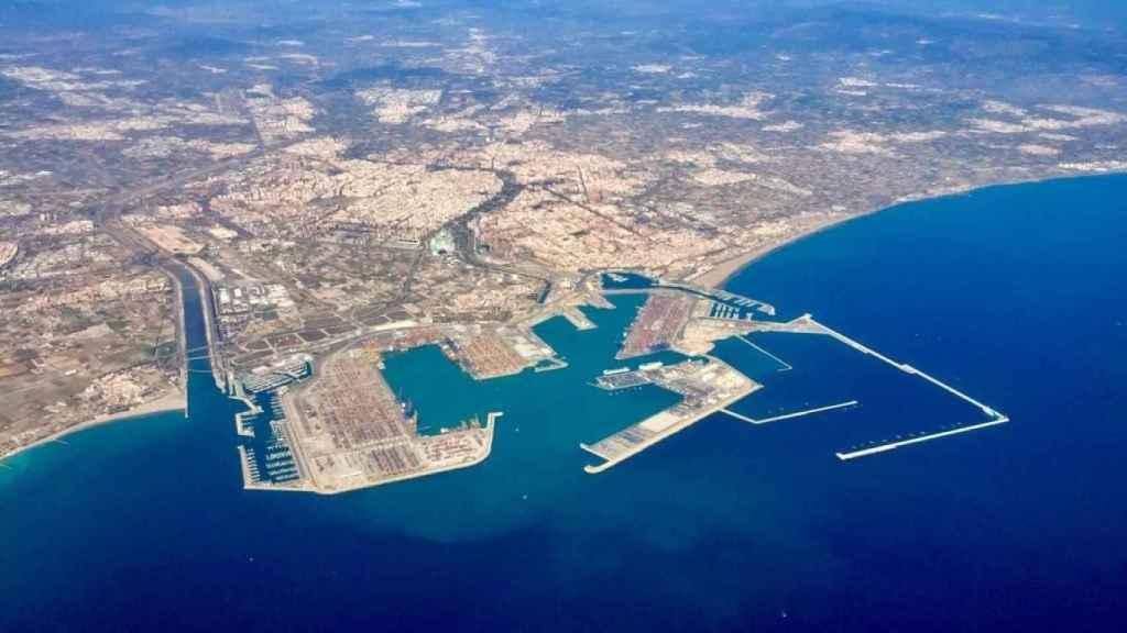 Vista aérea del Puerto de Valencia.