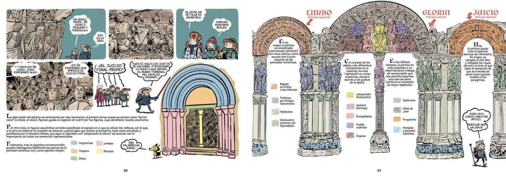Páginas dedicadas al Pórtico de la Gloria.