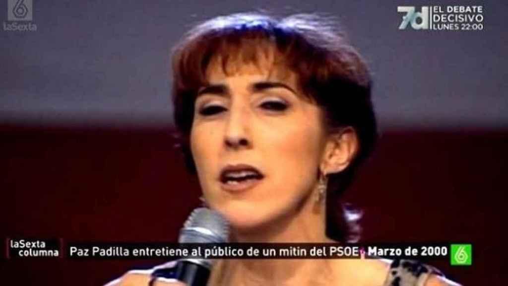 Paz Padilla participó en un mitin del PSOE en el 2000.