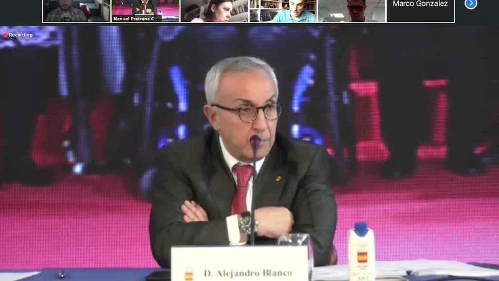 Alejandro Blanco, durante la reunión telemática del COE