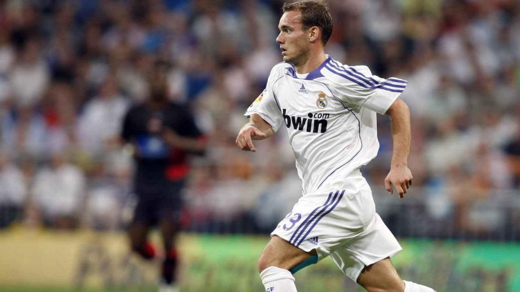 Wesley Sneijder, con la camiseta del Real Madrid